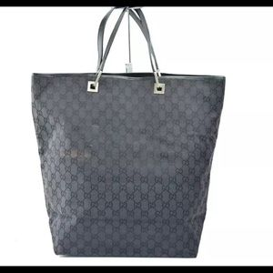 GUCCI BLACK/Gray GG-Link Signature Large Tote